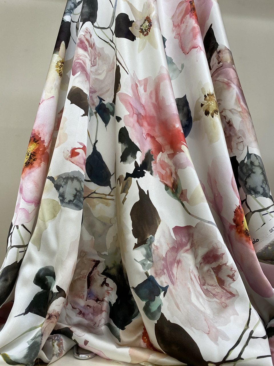 silk fabric with flower print