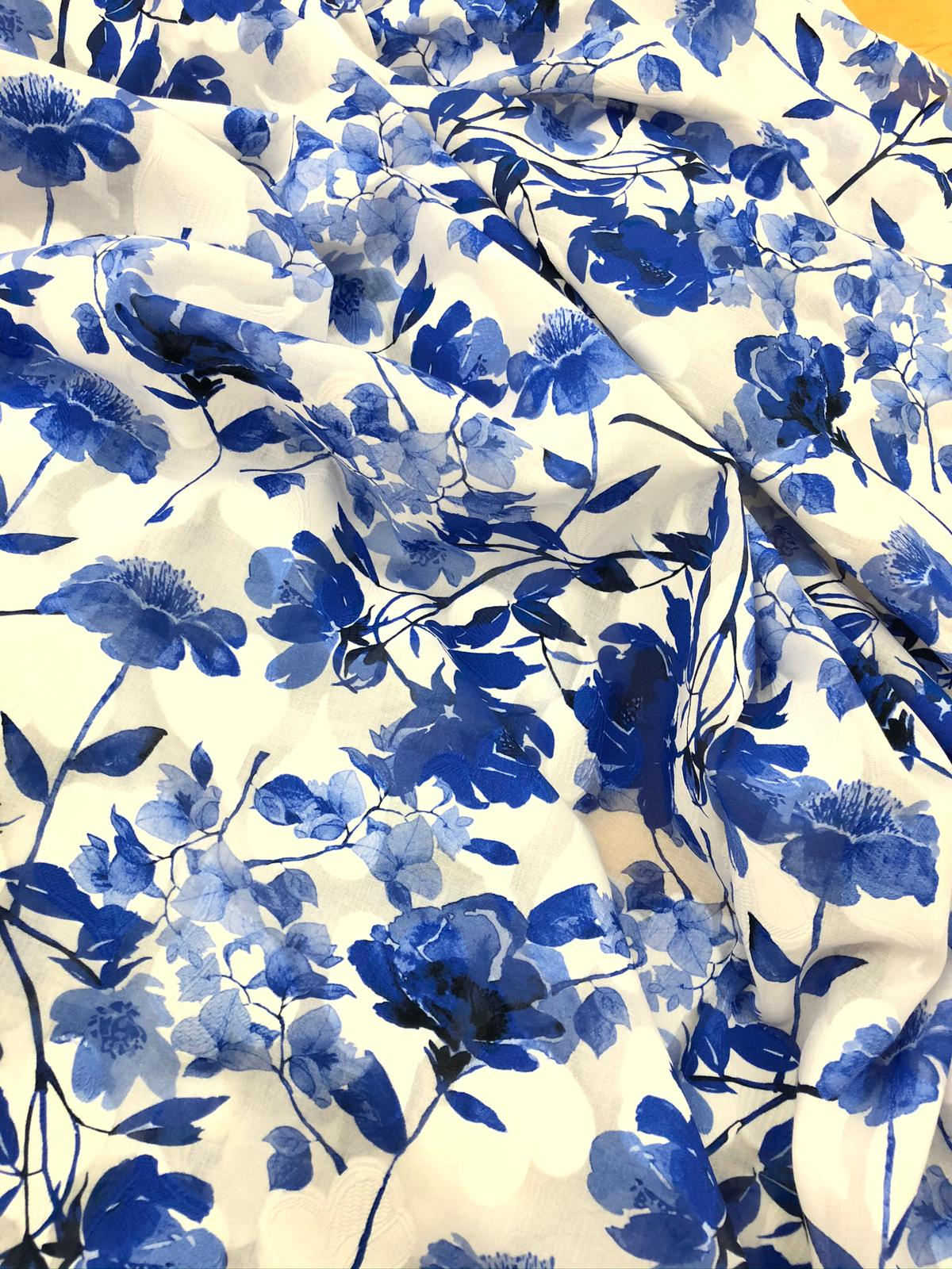 cotton fabric with blue colour flowers