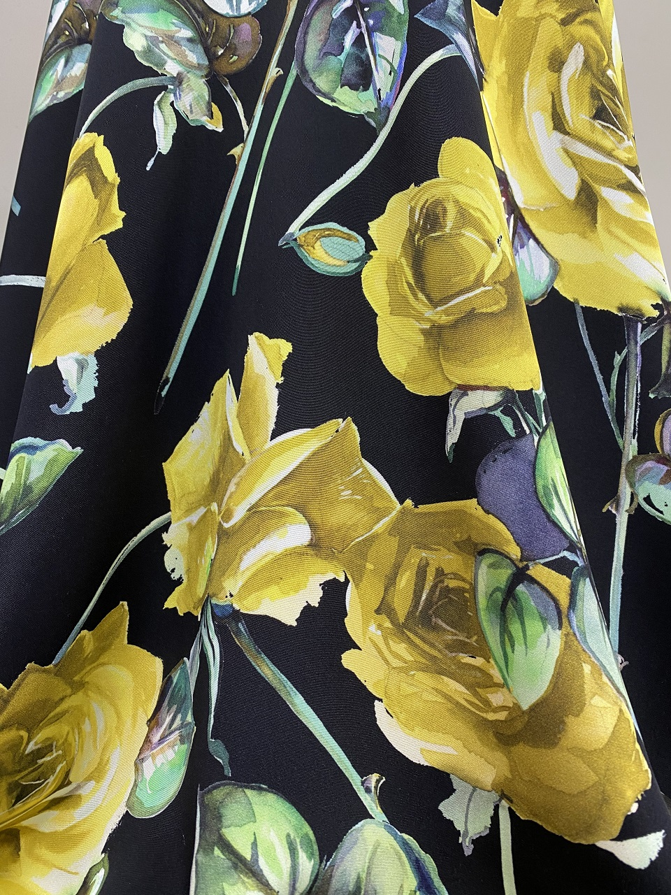 silk fabric with yellow rose print