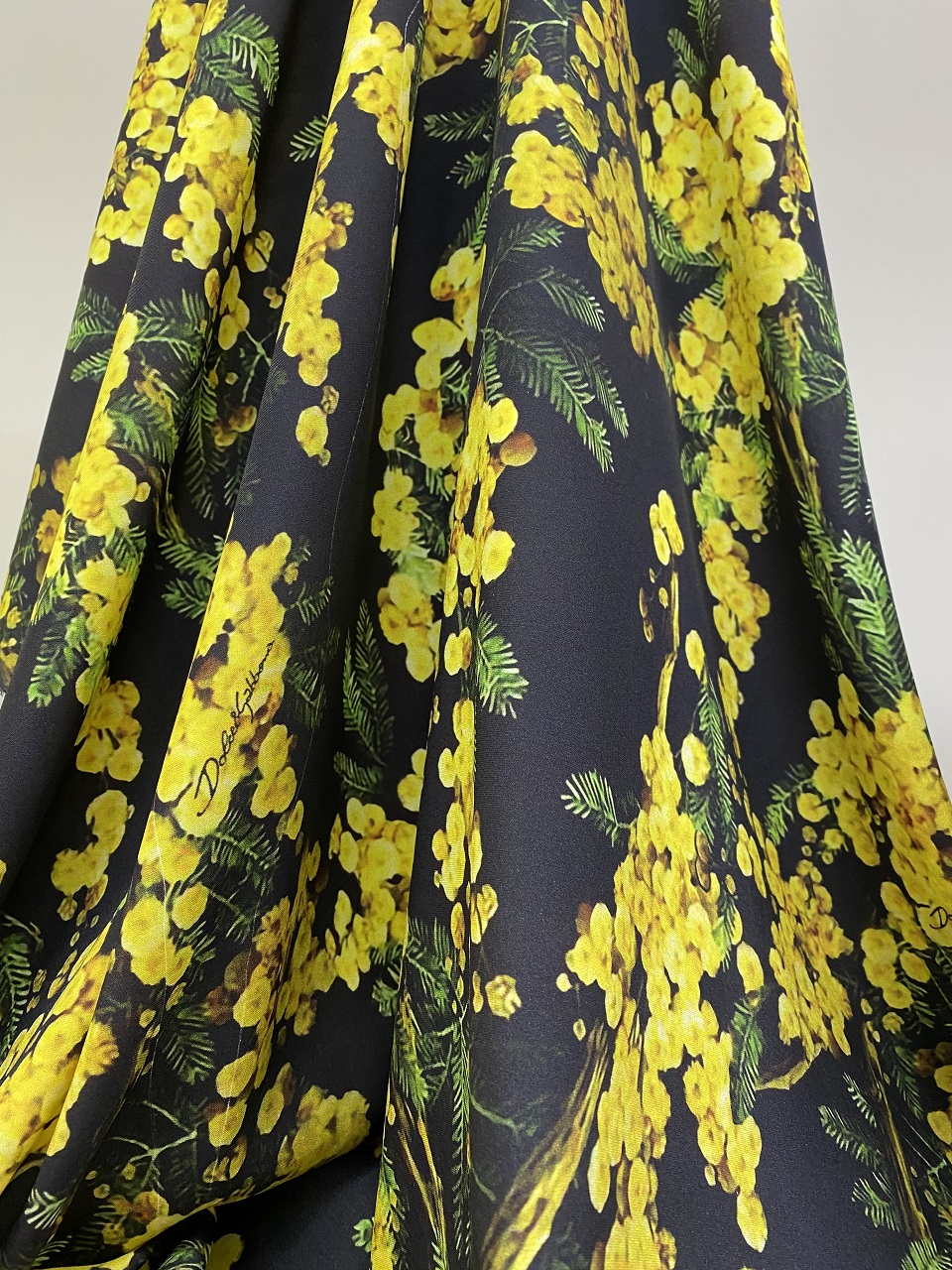 silk fabric with yellow print