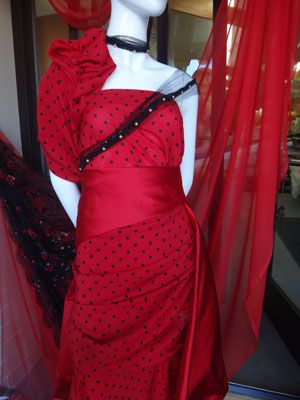 red bridal fabric