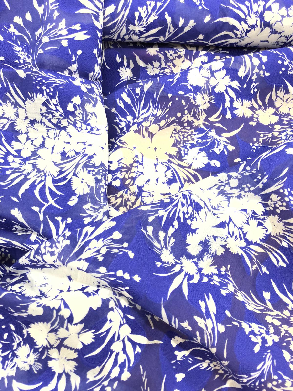 blue and white print on cotton fabric