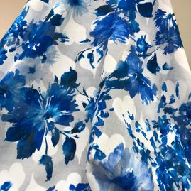 cotton fabric with blue leaves