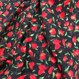 red flowers on cotton fabric